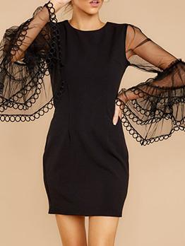 Gauze Flare Sleeve Solid Bodycon Dress For Women