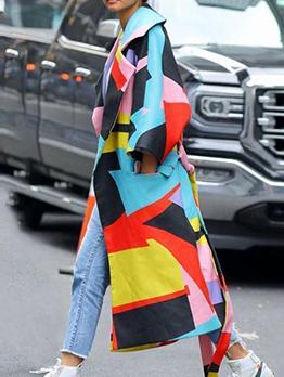 Color Block Long Sleeve Tie Wrap Long Coat