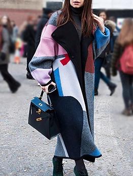 Trendy Color Block Turndown Collar Long Coat