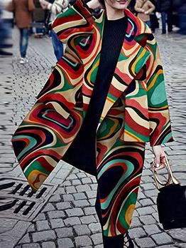 Stylish Multicolored Long Sleeve Big Pocket Long Coat