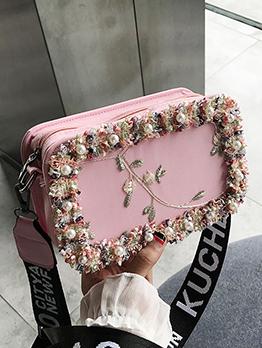 Letter Wide Belt Flower Edge Rectangle Shoulder Bag