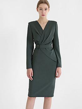 Ol Style V Neck Long Sleeve Bodycon Dress
