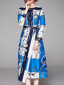 Crew Neck Chain Printed Tie-Wrap Midi Dress