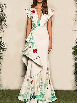 Euro Deep v Fishtail Pattern Evening Dresses