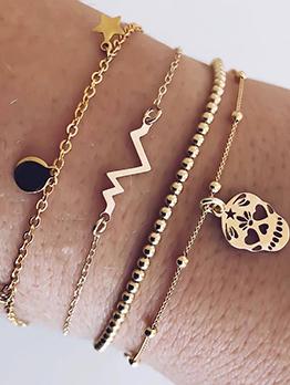 Skull Lightning Star Beading Bracelet 4 Piece Set