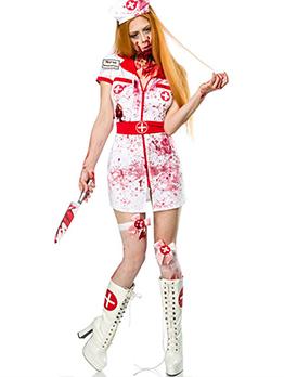 Halloween Zipper Up Short Dress Bloody Nurse Costumes