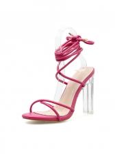 Peep Toe Lace Up Clear Heel High Heel Sandals