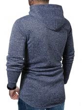 Solid Casual Long Sleeve Hooded Pullover Hoodie