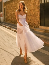 Fashion Backless White Strapless Long Evening Dress