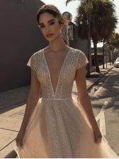 Deep V Neck Gauze Sequin Formal Evening Gowns