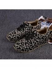 Breathable Fashion Lace Up Leopard Shoes