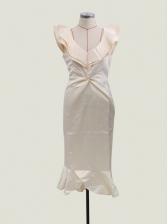 V Neck Fishtail Hem Fitted Cocktail Party Dress