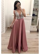 V Neck Sequin Decor Sleeveless Formal Gowns