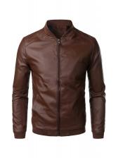 Fashion Pu Stand Collar Leather Jacket