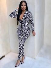 Animal Printed Skinny Long Sleeve Jumpsuit