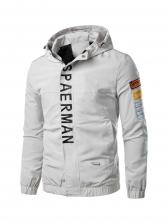 Versatile Letter Printed Hooded Mens Winter Jackets