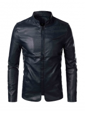 Slim Fit Cool Solid Motorcycle Jackets For Men