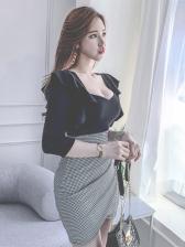 Low Cut Ruffled Plaid Long Sleeve Bodycon Dress