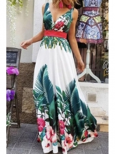Stylish Printed Sleeveless Maxi Dresses For Women