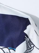 Crew Neck Chain Printed Tie-Wrap Midi Dress