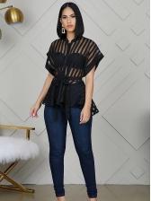 Perspective Striped Raglan Sleeve Black Blouse