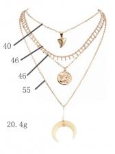 Angel Crescent Multi-Layer Pendant Necklace