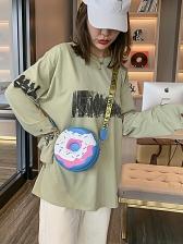 Two Size Cute Donuts Design Letter Belt Round Shoulder Bag