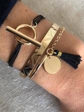 Fashion Tassel Round Bracelet 3 Piece Set