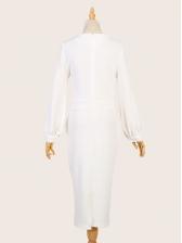 Slim Fit Solid Lantern Sleeve Midi Dress