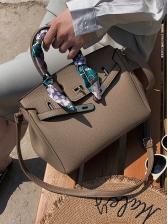 Ol Style Silk Scarf Decor Solid Large Handbags With Belt