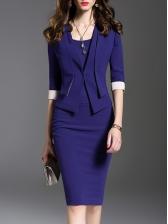 Ol Style Solid Formal Bodycon Dress