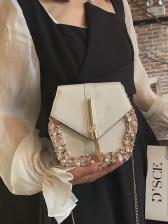Polygon Flower Edge Pearls Decor Metal Tassel Chain Bag