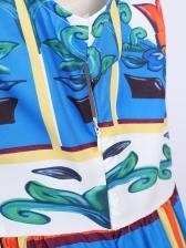 Vintage Printed Crew Neck Sleeveless Dress