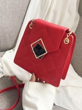 Embroidery Threads Rhombus Metal Hasp Chain Shoulder Bag