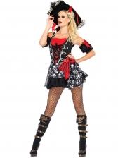 Skull Printed Colorblock Sleeveless Dress Pirate Halloween Costume