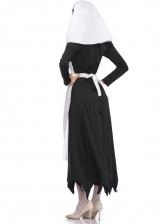 Halloween Bloody Contrast Color Maxi Dress Nun Costume