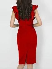 Ruffle Rivet Decor Fitted Bodycon Dress