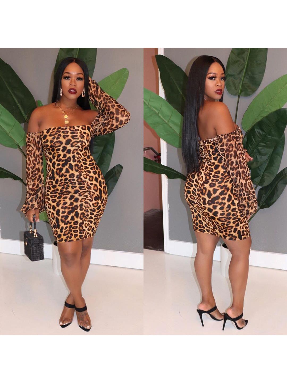 Off Shoulder Leopard Long Sleeve Short Dress