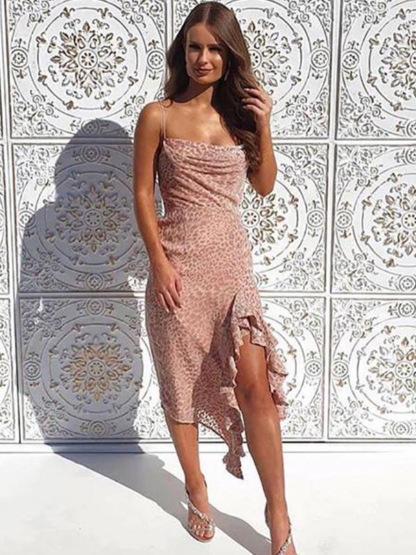 Fashion Irregular Hem Leopard Sleeveless Midi Dress