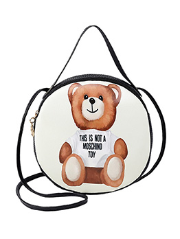 Cartoon Bear Printed Round Handbag For Women
