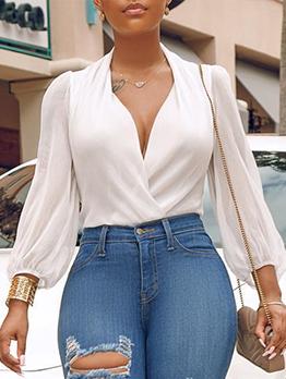 Minimalist V Neck Lightweight White Blouse For Ladies