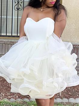 Gauze Strapless White Cocktail Dress For Women