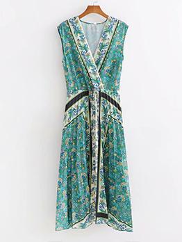 V Neck Draped Floral Sleeveless Midi Dress