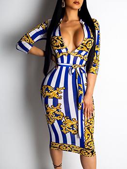 Vintage Printed Striped Long Sleeve Dress