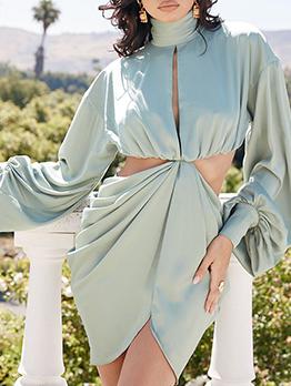 High Neck Hollow Out Irregular Long Sleeve Dress