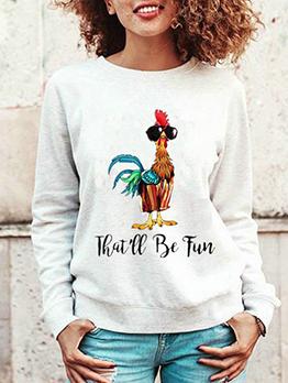 Animal Printed Long Sleeve Sweatshirts For Women