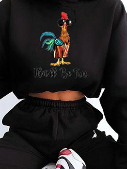 Animal Printed Long Sleeve Cropped Sweatshirt