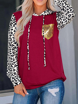 Sequined Pocket Leopard Print Sleeve Pullover Hoodie
