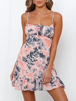 Tie Dye Graffiti Printed Sleeveless Dress
