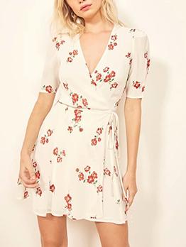 Leisure v Neck Short Sleeve a Line Dress